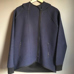 Elie Tahari Navy Fleece Hooded Jacket